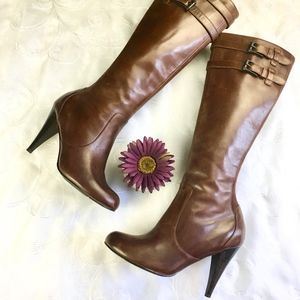 Cole Haan Nike Air Brown Leather Heeled Boots 6.5
